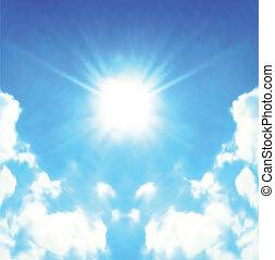 태양, 밝은, 벡터, 빛나는, skies.