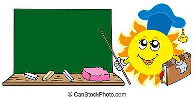 태양, 선생님, 와, 칠판