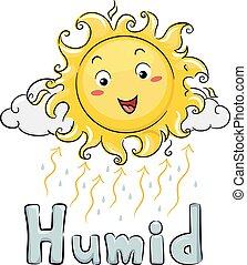 태양, 습기있는, 삽화, 마스코트