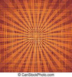 태양, 와, 광선, 통하고 있는, grunge, 천, texture., 벡터