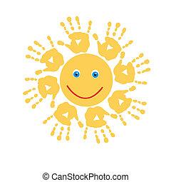 태양, 즐거운, handprints