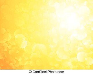 태양, bokeh, 노란 배경, 빛나는