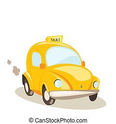 택시, 노란 차, 삽화