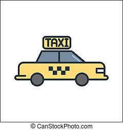 택시, 아이콘, 색, 삽화, 디자인