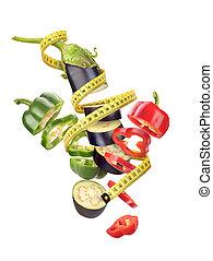 테이프, 센티미터, vegetables., pepper., eggplant.