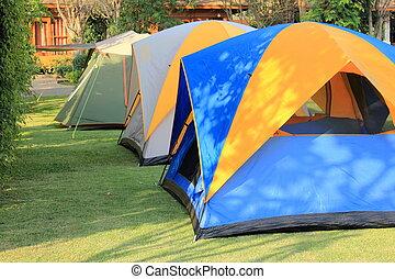 텐트, 개업시키다, 치고는, 야영