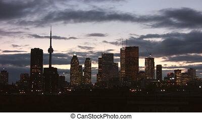 토론토, skyline., timelapse, clouds.
