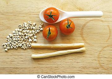 토마토, 버찌, 비스킷, concept), millets, 말리는, (healthy, 돛대