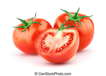 토마토, 와, 녹색의 잎