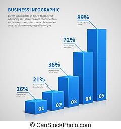 통계, 사업, 3차원, 그래프, 막대기, chart., 벡터, infographic, 와, 은 족답한다, 와..., 옵션