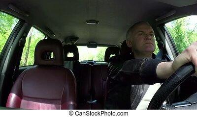 통근자, 남자, 사람, 운전, 차, 피하는 것, 충돌, 충돌, 사고