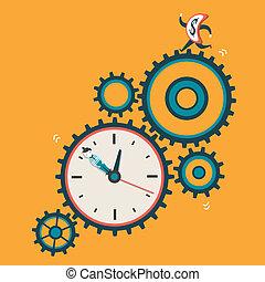 통제, 바람 빠진 타이어, 개념, 돈, 삽화, 디자인, 억압되어