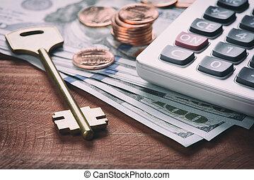 통화, 미국 달러, 열쇠, 돈