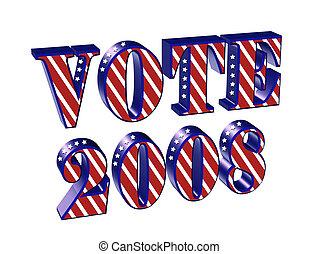 투표, 2008, 3차원, 문자로 쓰는