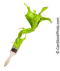 튀기는 것, 고립된, 페인트, 녹색의 배경, brush., 밖으로의백색