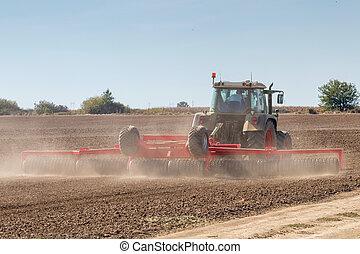 트랙터, 대비하는 것, 들판, 농업, 트랙터