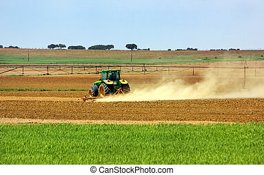 트랙터, 에서, portuguese, field.