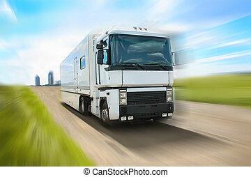 트럭, 가다, 통하고 있는, 상도