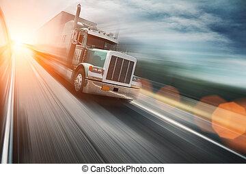 트럭, 통하고 있는, 고속 도로