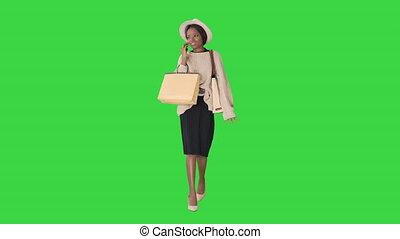 특대, 말하는 것, 동안, 소녀, 니트웨어, 걷기, 그녀, key., 쇼핑, chroma, 녹색, ...