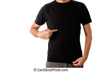 티셔츠, 남자, 검정, 공백