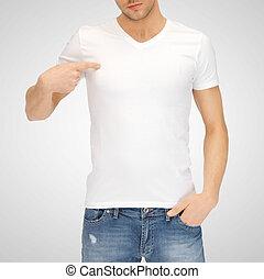 티셔츠, 백색, 남자, 공백