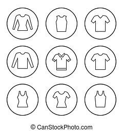 티셔츠, 선, 세트, 둥근, 아이콘