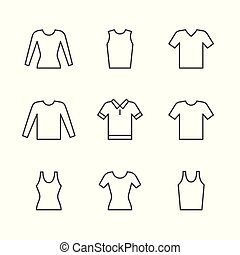 티셔츠, 세트, 소매, 아이콘, 길게, 선, singlet