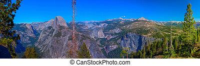 파노라마, 빙하, 한 나라를 상징하는, 점, 돔, 공원, 캘리포니아, 절반, 보이는 상태, 욧엄xx어