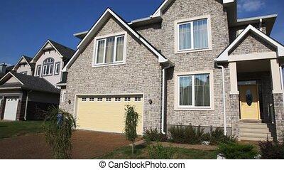파노라마, 의, 회색, 벽돌 집, 와..., 다른, 집, 에서, 거리