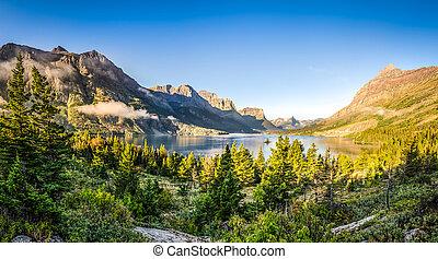 파노라마, 조경술을 써서 녹화하다, 보이는 상태, 의, 빙하 np, 산맥, 와..., 호수