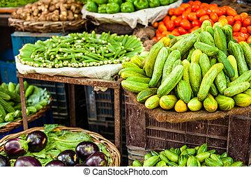 파는 것, 농부의 것, 야채, 아시아 사람, 신선한, 시장