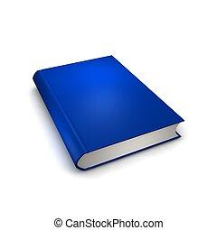 파랑, 고립된, book., 3차원, 표현된다, illustration.