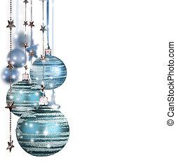 파랑, 공, 고립된, 배경, 화이트 크리스마스