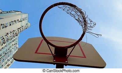 파랑, 농구, 지구, 던지는 것, 하늘, 향하여, 높은, 공, 비디오, 4k, 바구니, 반지, 그물, 건물.
