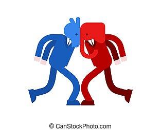 파랑, 당나귀, 공화당원, 정치에 참여하는, 민주당원, 싸움, battle., vs., 코끼리, 애국의, versus., 빨강