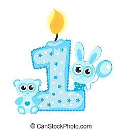 파랑, 동물, 카드, 고립된, 생일, white., 양초, 처음, 행복하다