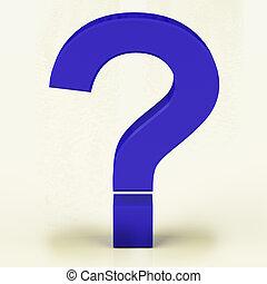 파랑, 물음표, 표현하는 것, faqs, 또는, 지지