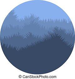 파랑 산, 제자리표, illustration., 봄 안개가 덮인, 색, logo., 떼어내다, 고립된, 나무, 환경, logotype., 모양, 벡터, 실루엣, icon., 황혼, 둥근, 조경술을 써서 녹화하다