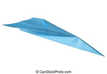 파랑, 서류상 비행기, 고립된, 통하고 있는, a, 백색, 배경.