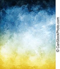 파랑, 수채화 물감, 떼어내다, 노란 배경