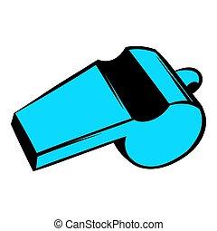 파랑, 스포츠, 휘파람, 아이콘, 아이콘, 만화