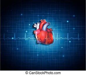 파랑, 심장, 기술, 건강한, 배경