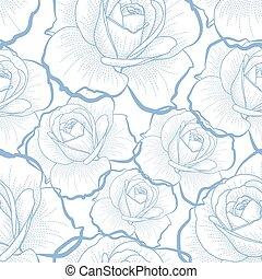 파랑, 아우트라인, 장미, 백색 위에서, seamless, 패턴