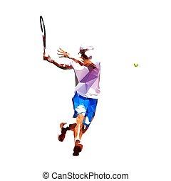 파랑, 여름, illustration., 셔츠, 사람, 벡터, 테니스, 고립된, poly, 선수, 반바지, 개인, tennis., 낮은, 능동의, 백색, 남자, sport., 노는 것, 성인
