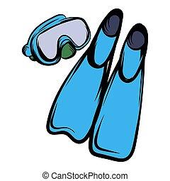 파랑, 오리발, 아이콘, 만화