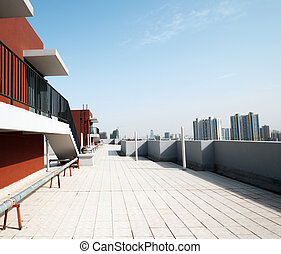 파랑, 옥외, 고매하다, sky., 바닥, 건축술, 바닥, 발코니, 콘크리트, 원근법