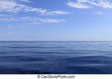 파랑, 완전한, 바다, 대양, 평온, 수평선