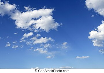 파랑, 완전한, 하늘, 하얀 구름, 통하고 있는, 명란한, 주간