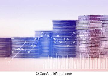 파랑 음색, 재정, 사업, 두 배, concept., 은 화폐로 주조한다, -, 그래프, 노출